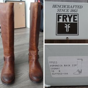 Frye Shoes - FRYE Veronica Back Zip Cognac Leather Boots